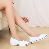 Women Round Toe Slip On Patchwork Wedge Shoes