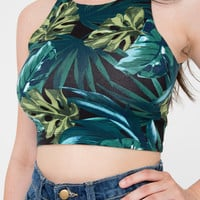 American Apparel - Jungle Leaves Print Cotton Spandex Sleeveless Crop Top