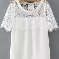 White Lace Short Sleeve Blouse