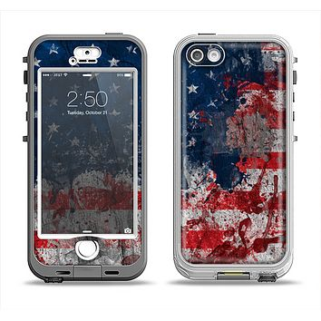 The Grungy American Flag Apple iPhone 5-5s LifeProof Nuud Case Skin Set