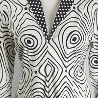 Vintage Trapeze Dress Black & White Op Art Print Polka-Dot Collar