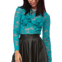 Andrea Long sleeve Dark Teal Lace Blouse