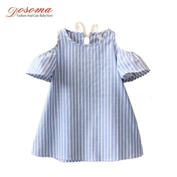 Summer dress 2017 girls clothes new design baby strapless princess striped kids dresses girls Korean fashion kids casual clothes