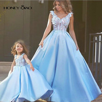 2016 Honey Qiao Flower Girls Dresses Vintage Light Blue Ball Gown Mother And Daughter Dresses Lovely Girls Pageant Dresses