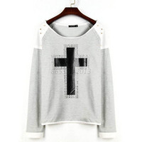 Women Fashion Cross Long Sleeve Top T- shirt Round Neck Sweater S-XL NW