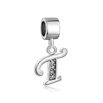 Nocary Clear Crystal Initial T Alphabet Charms Compatible with Pandora Bracelet