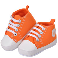 Newborn Kids Toddlers Canvas Cotton Crib Shoes Lace Up Casual Shoes Prewalker First Walkers 11-13