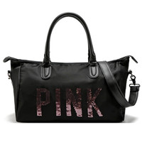 New Women VS Love Pink Brand high quality Handbags Large Capacity Travel Duffle Striped Waterproof Beach Bag Shoulder  Bag