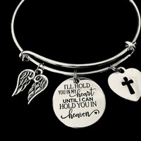 Memorial Expandable Charm Bracelet Adjustable Silver Bangle Angel Wings Jewelry Bereavement Gift