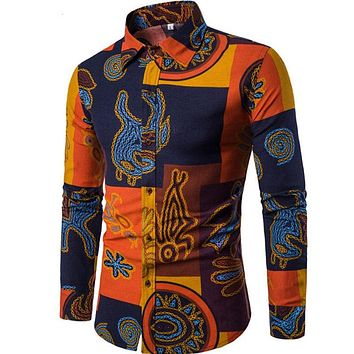 Long Sleeves Printed Floral Beach Night Clubs Shirts