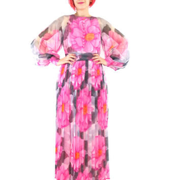 60s 70s Pink Floral Maxi Dress Sheer Long Sleeve Prom Dress Flower Power Formal Dress Psychedelic Evening Gown Pleats Empire Waist Dress (S)