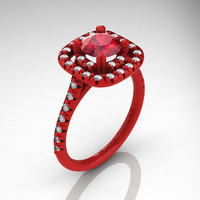Exclusive French 14K Red Gold 1.0 Ct Ruby Diamond Engagement Ring R1028-14KREGDR