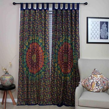 Tab Top Curtain Mandala Cotton Floral Drape 44x88 Blue Green Gold Kitchen Panel