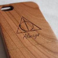 iphone 5s case , iphone 5s case, Wood iphone 5 case , Engraved Harry Potter Deathly Hallows Always wood iphone 5s case