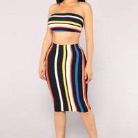 Power Stripe Skirt Set - MultiStripe