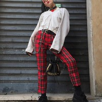 high street flannel plaid chained pants