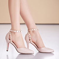 2016 New Fashion PU Plus Size(32-42) Pink+Blue Close Toe Cover Heel Solid Buckle Women Sandle with Rivets shoes