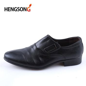 HENGSONG 2018 New Bussiness Single Buckle Mens Formal Occasion Man Office Party Wedding Slip On Dress Black Brown Shoes RD402096