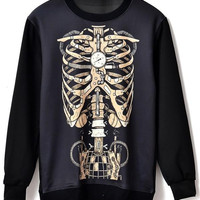 Mechanism Chest Bone Print Sweatshirt