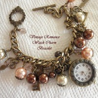 """""""Vintage Romance"""" Pink and Brown Watch Charm Toggle Bracelet"""