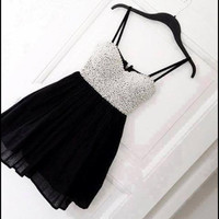 Cute Mini Black Pearl Homecoming Dress