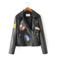 Black Embroidery Patchwork Faux Leather Jacket