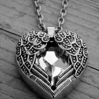 Gothic Valentine's Day Necklace Goth Valentine's Day Jewelry Heart Necklace Heart Jewelry Winged Silver Crystal Heart Wings Fantasy Jewelry