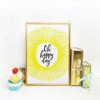 Children's wall art, Nursery decor , Baby nursery art, Sunshine collection, Oh happy day, Yellow nursery print, Bunting triangle poster