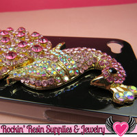 XL Hot Pink & Pink Crystal PEACOCK Gold Alloy Bird Decoden Cabochon Cellphone Decoration