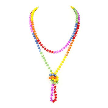 RAINBOW HAND KNOTTED RONDELLE BEADS NECKLACE