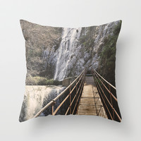 Adventure. Bridge over the waterfall. Retro serie. Throw Pillow by Guido Montañés