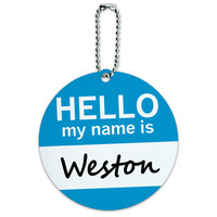 Weston Hello My Name Is Round ID Card Luggage Tag