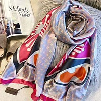 LV Louis Vuitton New Popular Women Easy To Match Smooth Silk Kerchief Cape Scarf Scarves Shawl Accessories Grey I-TMWJ-XDH