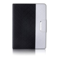 iPad Air 2 Case,Thankscase Rotating Leather Case Smart Cover with Beautiful Quatrefoil Lattice Embossed Pattern,Swivel Case Bulid-in Wallet Pocket and Hand Strap for iPad Air 2.(Black Quatrefoil)