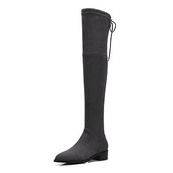 Flock Over the Knee Boots Winter Shoes for Woman 2329