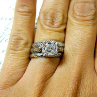 Vintage Engagement Sterling Silver Swarovski Asscher cut CZ with matching Floral Band with Tiara Crown like bezel - Wedding