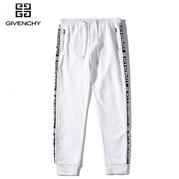 Givenchy fashion casual zipper ribbon section cotton trousers White