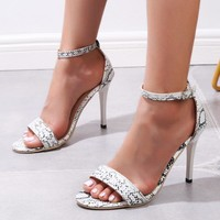 Sexy snake-print peep-toe sandals for stylish women are on sale