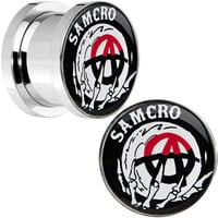 """1/2"""" Surgical Steel Sons of Anarchy Skull Hand SAMCRO Screw Fit Plug Set 