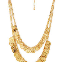 FOREVER 21 Well-Traveled Layered Coin Necklace Gold One