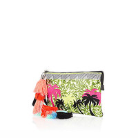 River Island Womens Green palm tree embroidered tassel clutch bag