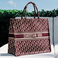 Christian Dior Book Tote Dior Oblique Bag Red