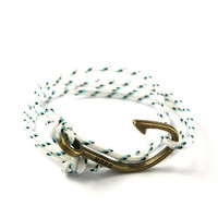 Thin Nylon Cord Fish Hook Bracelet in White