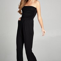 Tristen Strapless Black Jumpsuit