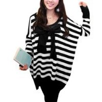 My Associates Store - Allegra K Pregnant Woman Scoop Neck Stripes Pattern Sweater Black White L