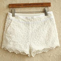 Floral Embroidery Lace Overlay Shorts from OASAP-USA