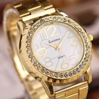 Women's Fashion Gold Watches Arabic Numbers and Rectangle Hour Marks with Round Dial Steel Watchband Quartz Watches  Golden (Color: Gold) = 1956923332