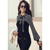 Classic Black Or White Striped Tie Blouse