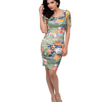 Green Watercolor Floral Short Sleeve Cut Out Wiggle Dress
