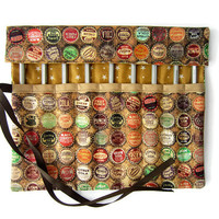 Pencil Roll/ Crochet Hook Case/ Cosmetic Brush Roll/  Arts and Crafts storage/ bottle cap and stars